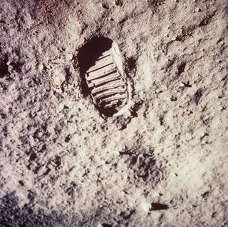 Apollo 11 - Footprint left by astronaut on lunar soil during Apollo 11 lunar mission in which astronauts Neil Armstrong & Buzz Aldrin took walk on moon's surface (July 1969)