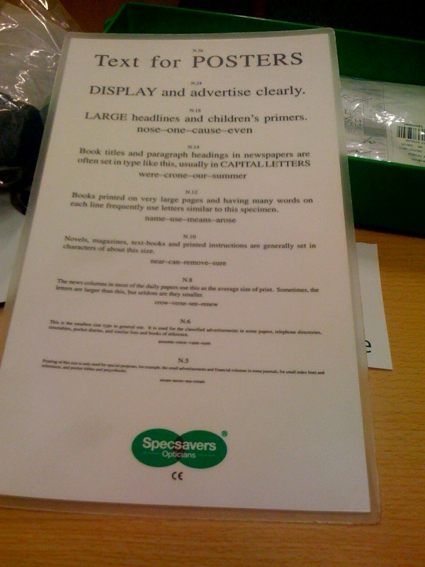 Specsavers Small Print